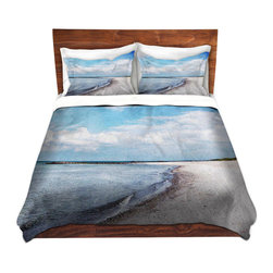 DiaNoche Designs - Duvet Cover Microfiber - Blue White Skies - Super lightweight and extremely soft Premium Microfiber Duvet Cover in sizes Twin, Queen, King.  This duvet is designed to wash upon arrival for maximum softness.   Each duvet starts by looming the fabric and cutting to the size ordered.  The Image is printed and your Duvet Cover is meticulously sewn together with ties in each corner and a hidden zip closure.  All in the USA!!  Poly top with a Cotton Poly underside.  Dye Sublimation printing permanently adheres the ink to the material for long life and durability. Printed top, cream colored bottom, Machine Washable, Product may vary slightly from image.