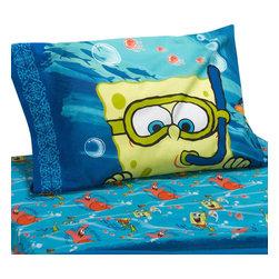 Franco Manufacturing Company Inc - Spongebob Squarepants Sea Adventure 4-Piece Full Bed Sheet Set - Features: