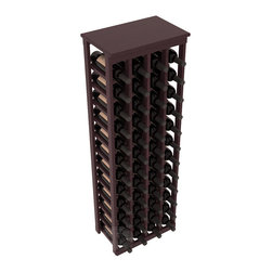 "48 Bottle Kitchen Wine Rack in Redwood with Burgundy Stain + Satin Finish - Store 4 complete cases of wine in less than 20"" of wall space. Just over 4 feet tall, this narrow wine rack fits perfectly in hallways, closets and other ""catch-all"" spaces in your home or den. The solid wood top serves as a shelf or table top for added convenience and storage of nick-nacks."