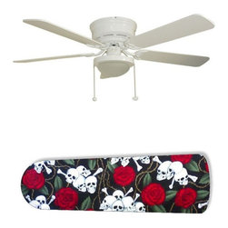 """Skulls and Roses 52"""" Ceiling Fan with Lamp - This is a brand new 52-inch 5-blade ceiling fan with a dome light kit and designer blades and will be shipped in original box. It is white with a flushmount design and is adjustable for downrods if needed. This fan features 3-speed reversible airflow for energy efficiency all year long. Comes with Light kit and complete installation/assembly instructions. The blades are easy to clean using a damp-not wet cloth. The design is on one side only/opposite side is bleached oak. Made using environmentally friendly, non-toxic products. This is not a licensed product, but is made with fully licensed products. Note: Fan comes with custom blades only."""