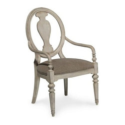 A.R.T. Furniture Belmar II Oval Splat Back Arm Chair - Antique Linen - Set of 2 - Coastal style is seldom as elegant as the A.R.T. Furniture Belmar II Oval Splat Back Side Chair – Antique Linen – Set of 2, a hand-painted, hardwood solid set designed for everyday dining comfort. Crafted from radiata hardwood solids and New Zealand Pine veneers, these gorgeous chairs feature vase-shaped splat backs and octagonal turned legs, and the timeworn appeal of nicks, rasping, and other hand-distressed details.About A.R.T. FurnitureFounded in 2003, A.R.T. Furniture creates beautiful, high-quality furniture inspired by architecture and design. Their sophisticated aesthetic draws upon the best of traditional European furniture designs, as well as rustic, coastal, and transitional styles. A.R.T. Furniture is known for its themed collections that reinvent classic forms for the needs of contemporary home decorators. Their dining room, bedroom, entertainment, and living room furnishings are constructed from sustainably forested hardwoods and veneers. A.R.T. Furniture is distinguished by its superior craftsmanship and attention to detail, taking the extra step in the manufacturing process to ensure quality, beauty, and durability for its customers.