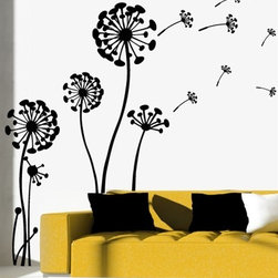 WALLTAT - Flowering Dandelion Wall Decals, As-Is - Flowering Dandelion Wall Decals set a tranquil scene of life in the early stages of springtime and regeneration.  Allow this organic design to float across your walls or windows and stylize your d̩cor.  Available on Houzz in Size C Black in As-Is Orientation (blowing right) or Reverse Orientation (blowing left).   Convert your walls into interesting landscapes in minutes with WALLTAT Wall Decals.  Made in the USA.