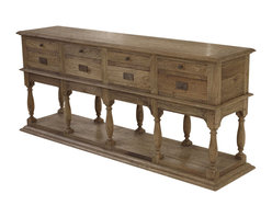 Kathy Kuo Home - French Country Reclaimed Elm Wood 7 Drawer Server Buffet - Design a dining room straight out of Provence.  Made from solid reclaimed elm, this classic buffet features lovely turned legs, generous storage and a rustic washed tobacco finish. It'll fill your space with heaps of French Country charm.