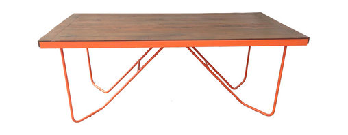 Haskell - Repast Table - Life's a picnic with an outdoor table as high style and low maintenance as this one. The base is hand-cut, bent and welded steel, while the wooden top is FSC certified. It will withstand the weather for a lifetime.