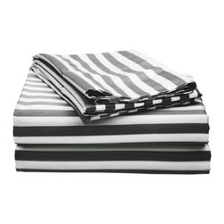 """600 Thread Count California King Sheet Set Cotton Rich Cabana Stripe, Black - Send yourself on a tropical vacation every night with this Cabana Inspired sheet set from Impressions. This design features stripes of white and the sets specified color and is made with a superior blend of materials that makes these sheets soft, easy to care for and wrinkle resistant. Set includes one flat sheet 108"""" x 102"""", one fitted sheet 72"""" x 84"""", and two pillowcases 20"""" x 40"""" each."""