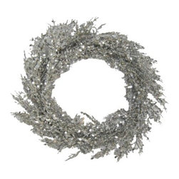Glitter Wreath, Silver - For a more contemporary take on a wreath, pick up a metallic one. This would look awesome on a front door or over a fireplace.