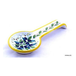 Artistica - Hand Made in Italy - Deruta: Spoon Rest Olive (Also Wall Hung) - Deruta: