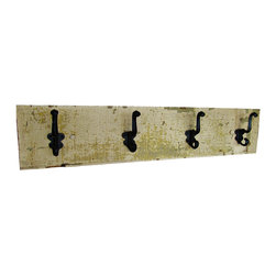"East Coast Rustic - Farmhouse Chic Coat Rack - This reclaimed barn wood coat rack shelf is approximately 31"" long x 6.5"" high. All dimensions are approximate."
