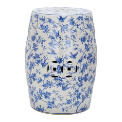 Safavieh - Safavieh Paradise Swallows White Ceramic Garden Stool - Bring a great look to your garden or patio with this cute Safavieh Paradise Swallows white ceramic garden stool. This versatile stool is handmade of the best ceramics,and can also be used indoors as an extra sitting place,footrest or cocktail table.