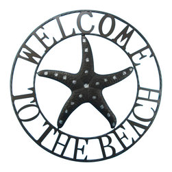 "Handcrafted Model Ships - Metal Welcome To The Beach Starfish Wall Sign 26"" - Beach Home decor - Our Metal Welcome To The Beach Starfish Wall Sign 26"" is the perfect choice to display your affinity for decorating a beach house. Place this sign in a beach kitchen, use as a coastal decorating idea, or hang this up as part of your beach bedroom decor. Given all the options, one thing is for certain, you are sure to inject the beach lifestyle into your humble abode."
