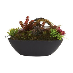 """Mixed Succulent with Oval Black Container - """"ooooh""""... that's the first thought that came to mind when we looked at this beautiful mixed succulent. What is it about this combination - the soft colors of the different succulents? The varying textures? The color and shape of the black oval pot? Whatever it is, the combination simply """"works"""", doesn't it? Best of all, it'll stay looking beautiful for years, with nary a drop of water. Buy one for yourself, and another as a gift. Height= 8.5 In. x Width= 12 In. x Depth= 6 In."""
