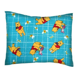 SheetWorld - SheetWorld Twin Pillow Case - Flannel Pillow Case - Pooh Blue Grid-Made in USA - Twin pillow case. Made of an all cotton flannel fabric. Side Opening. Features the one and only Winnie The Pooh!