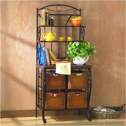 "Wildon Home � - Storage Baker's Rack - Simple and stylish, this baker's rack solves the storage issues of the kitchen. Take advantage of the spacious four wicker drawers to store your dish towels, pots and pans, cookbooks, and more. The shelves are perfect for showing off fancy plates and cups. Features: -Hand painted Metal.-Please note: Variation in color between main image and additional image is due to different lighting settings..-4 Wicker baskets with steel wire frame.-Finish: Black.-Distressed: No.-Powder Coated Finish: No.-Frame Material: Steel, Manufactured Wood.-Shelf Material: Metal; Wood.-Solid Wood Construction: No.-Rust Resistant: No.-Fade Resistant: No.-Scratch Resistant: No.-Tarnish Resistant: No.-Stain Resistant: No.-Number of Shelves: 3.-Adjustable Shelves: No.-Number of Drawers: 4.-Removable Serving Tray: No.-Wine Bottle Storage: No.-Wine Glass Storage: No.-Foldable: No.-Product Weight Capacity: 70 lbs.-Shelf Weight Capacity: Counter Top - 40 lbs; Shelves - 15 lbs.-Outdoor Use: No.-Swatch Available: No.-Commercial Use: No.-Recycled Content: No.-Eco-Friendly: No.-Product Care: Wipe clean with a dry cloth.Dimensions: -Shelf Width - Side to Side: 26.75"".-Shelf Depth - Front to Back: 8"".-Drawer Height: 8.5"".-Drawer Width - Side to Side: 11"".-Drawer Depth - Front to Back: 14"".-Overall Product Weight: 55 lbs.Assembly: -Assembly Required: Yes.-Tools Needed: Phillips No.2 screwdriver.-Additional Parts Required: No.Warranty: -Product Warranty: 1 Year Limited Manufacture Warranty."