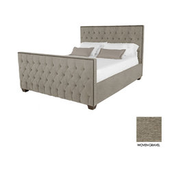 Apt2B - Huntley Tufted Upholstered Bed, Woven Gravel, Queen - Covered in a slightly textured poly-blend fabric, expertly button tufted and accented with rustic antiqued nailheads, the Huntley will turn any drab bedroom into a luxury budoir or man castle!
