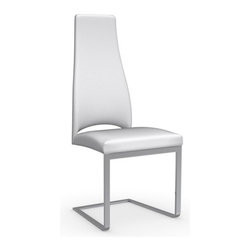 Calligaris - Juliet Dining Chair, Optic White - A basic leather dining chair that's anything but. The addition of bent chrome and tapered back gives this piece just enough elements of interest to keep your dinner guests entertained.