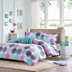 Mizone - Mizone Carly Comforter Set - Add color to your bedroom with the Mizone Carly Comforter Set. Doodled circles create this look with pops of pink, teal, purple and black while a teal polka dot reverse plays up the back. One fun decorative pillow uses stripes of twill tape to showcase all the major colors from the top of bed. Comforter/Sham: 100% polyester microfiber printed, microfiber solid reverse Filling: 200gsm poly fill Pillow: poly cover and poly fill