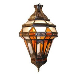 Middle Eastern Artisans - Brass Amber Lantern - Spice up your home with a touch of Moroccan flair. The warm glow of amber, clear and frosted glass will give your dining room an exotic feeling with the flip of a switch. Just add a 100-watt bulb and you'll have mood lighting in no time.