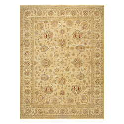 Rugsville - Rugsville Peshawar 5th Avenue Beige Beige Wool 9.9x13.3 Rug PW596-1013 - The 5th Avenue Peshawar collection is Hand Knotted in India. Each rugs quality is woven with hand-spun wool and vegetable dyed. These rugs, which can take up to a year to weave, are then washed and dried in the sun giving each authentic rug its soft subdued tones and muted colors.