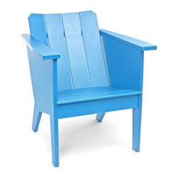 Loll Designs - Deck Chair, Sky Blue - Designed by Brendan Ravenhill with Loll, The Deck Chair will keep you comfortable and engaged. The contoured and sloped seat and curved back of this lounge chair wraps the seated with a cockpit like comfort. Wide arm rests are situated at a perfect height for both power lounging and as a ledge for setting a beverage or book. Beneath the right arm is a convenient stainless steel bottle opener. The 15 inch seat height makes it easy to get out of, but you probably won't want to.