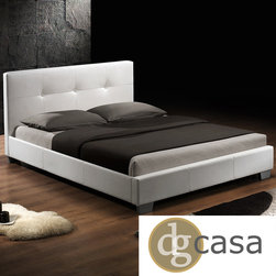DG Casa - DG Casa Monterey White Upholstery Bed - The Monterey bed's sleek lines and minimalist button tufted headboard are a perfect example of classic contemporary elegance. Fully upholstered in a durable gorgeous white synthetic leather and accented with wooden legs.