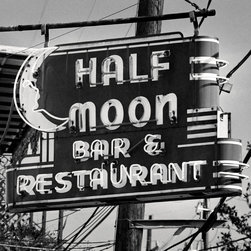 The Andy Moine Company LLC - Half Moon Bar Retro Signs New Orleans Louisiana Black & White Photography, 10x10 - Captured with 35MM Ilford Black & White Film this is a Fine Art Aluminum Texture Tile the Half Moon Bar Retro Neon sign, a local dive bar in the Lower Garden District or New Orleans, Louisiana.