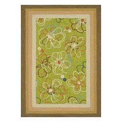 "Loloi Rugs - Loloi Rugs Zamora Collection - Lime, 2'-3"" x 3'-9"" - The Zamora Collection, made in China of 100% polypropylene, combines a hand-hooked field with a hand-braided border, for an overall look that exceeds expectations in an indoor/outdoor product. Cheerful and vibrantly colored, this collection breathesliveliness into an outdoor space."