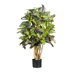 Nearly Natural - 3' Croton Silk Tree - Not for outdoor use. Boasts multi-colored leaves. Natural trunks. 180 Leaves. Included Non Decorative Nursery Pot size: 5.5 in. W X 5 in. H24 in. W X 24 in. D X 3 ft. H (11lbs). Just one glance at this breathtaking croton silk tree and you'll be daydreaming of a tropical paradise. The large multi-colored leaves of this extraordinary tree are sure to spruce up any home or office environment. At three feet tall, this grand croton is certain to leave a lasting impression. The colorful foliage and natural stalks add a touch of authentic appeal to this everlasting beauty.
