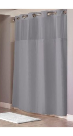 """Hookless - Hookless Waffle 71-Inch x 74-Inch Fabric Shower Curtain and Liner Set in Grey - This innovative shower curtain and liner offer no hassles thanks to their """"split ring"""" hookless design that lets you hang them in less than 10 seconds."""