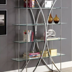 Monarch Specialties - Monarch Specialties 72 Inch Etagere w/ Tempered Glass Shelves in Chrome - This contemporary styled etagere features sleek lines, and glass shelving. With flowing round, chrome metal edges and tempered glass surfaces that add a bold element, this piece has a visual appeal that is unparalleled. Four spacious glass shelves are perfect for books, vases, and other decorative objects that you wish to display.