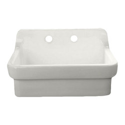 "American Standard - American Standard 9062.008.020 Country Kitchen Sink, White - This American Standard 9062.008.020 Country Kitchen Sink is part of the Additional Accessories collection, and comes in a beautiful White finish. This country kitchen sink features a high back splage, a set of faucet mounting holes on 8"" centers, a 3-1/2"" outlet, and a vitreous china construction."