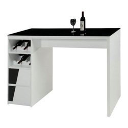Chintaly Fulton Home Bar - Black and White - Sip and serve in style with the Chintaly Fulton Home Bar - Black and White. A distinctive home bar, this one is crafted of wood with a stunning tempered black glass countertop that draws the eye. The white frame is sleek yet has two drawers with black accents. It also includes slotted spaces for your favorite bottles of vino.About Chintaly ImportsBased in Farmingdale, New York, Chintaly Imports has been supplying the furniture industry with quality products since 1997. From its humble beginning with a small assortment of casual dining tables and stools, Chintaly Imports has grown to become a full-range supplier of curios, computer desks, accent pieces, occasional table, barstools, pub sets, upholstery groups and bedroom sets. This assortment of products includes many high-styled contemporary and traditionally-styled items. Chintaly Imports takes pride in the fact that many of its products offer the innovative look, style, and quality which are offered with other suppliers at much higher prices. Currently, Chintaly Imports products appeal to a broad customer base which encompasses many single store operations along with numerous top 100 dealers. Chintaly Imports showrooms are located in High Point, North Carolina and Las Vegas, Nevada.