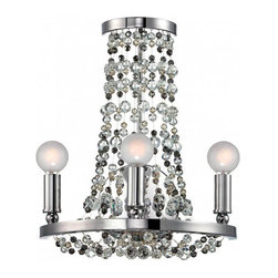 Contemporary Wall Sconce with Crystal Ball Laces - You will be impressed by this wall sconce. It has several laces of multi-colored crystal balls, and triple frosted glass ball lights on steel holder, which shows its significant contemporary style. Wise selection for your home decor.