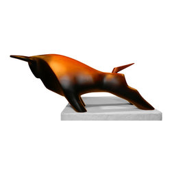Wood Sculpture - Bull Inclined - -Handmade by artisans in Chile