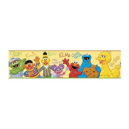 RoomMates Peel & Stick - Sesame Street Border - Bring the sunny days of sesame street to your child's bedroom with this colorful peel and stick wall border. featuring Oscar the grouch bert and ernie abby cadabby elmo the cookie monster and big bird this delightful border is sure to add fun to any room. Pairs perfectly with our giant wall decals or peel and stick appliques (all not included) to create a full room effect!