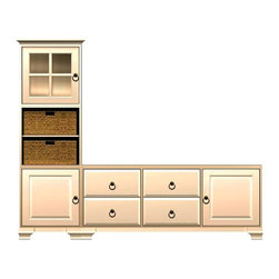 Howard Miller Custom - Hanna cabinet w 2 Doors in Antique Vanilla - This cabinet is finished in Antique Vanilla on select Hardwoods and Veneers, with Antique Brass hardware. Console:. 1 beveled panel door and 4 raised panel drawers. 1 adjustable interior shelf. Tower:. 1 door with plain Glass and cross panes and 1 beveled panel door. 3 adjustable interior shelves and 2 large woven baskets. Cove profile top on tower, flat profile top on console and Ogee profile base. Hardware: ring pulls on doors and drawers. Features soft-close doors, metal drawer glides, and metal shelf clips. Simple assembly required. Console: 70 3/4 in. W x 16 in. D x 29 1/2 in. H. Tower: 27 1/4 in. W x 17 in. D x 78 1/2 in. H