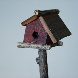 crooked creations - Rustic birdhouse with redwood deck. Built with reclaimed wood
