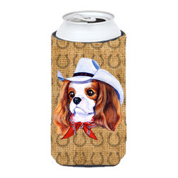 Caroline's Treasures - Cavalier Spaniel Dog Country Lucky Horseshoe Tall Boy Koozie Hugger - Cavalier Spaniel Dog Country Lucky Horseshoe Tall Boy Koozie Hugger Fits 22 oz. to 24 oz. cans or pint bottles. Great collapsible koozie for Energy Drinks or large Iced Tea beverages. Great to keep track of your beverage and add a bit of flair to a gathering. Match with one of the insulated coolers or coasters for a nice gift pack. Wash the hugger in your dishwasher or clothes washer. Design will not come off.