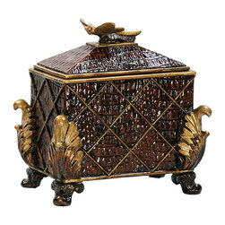 Sterling Industries - Sterling Industries 93-3491 Sterling Australian Decorative Tac Box - Store Mementos, Jewelry, Important Keepsakes, Or Anything You Want To Keep Neatly Hidden From View In The Australian Decorative Dressing Box By Sterling. The Highly Detailed Box With Faux Alligator Embossment In Painted Rich Tones Of Brown And Gold Offer A Masculine Charm. What Makes This Box Truly Special Is The Dragonfly Handle Motif On The Removable Lid--Dragonflies Represent Maturity, A Sense Of Self. So Perhaps For The Man In Your Life Celebrating A Special Birthday, Anniversary, Retirement, Or For Any Occasion, Give Him This Unique Gift Item. Box Measures 7 Inches Long X 7 Inches Wide X 7 Inches Tall.  Box (1)