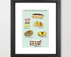 Patisserie Art Print - Indulge your sweet tooth, but save your teeth! This giclée print has more than enough sugary goodness to satisfy your pastry desires, and it brings a sophisticated French spin to your baked goods obsession.