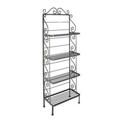 Grace Manufacturing - 24 Inch Steel French Bakers Rack With 4 Steel Shelves & Brass Tips, Satin Black - Dimensions: 24 inches wide, 13 inches deep, and 71 inches tall