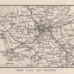 Stomping Grounds - Map Of Rome, Italy, And Its Environs From 1923 - Reproduction from 'The New World Atlas and Gazetteer' published in 1923.