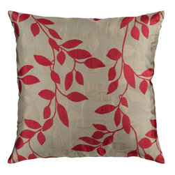 Surya Rugs - Brindle and Red Leaf Pattern 18 x 18 Pillow - Covered in a subtle leaf design, this pillow brings a little something extra to your room. Colors of red and beige accent this decorative pillow. This pillow contains a poly fill and a zipper closure. Add this pillow to your collection today.  - Includes one poly-fiber filled insert and one pillow cover.   - Pillow cover material: 100% Polyester Surya Rugs - HH058-1818P