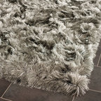 "Safavieh - Shag Shag Hallway Runner 2'3""x8' Runner Silver Area Rug - The Shag area rug Collection offers an affordable assortment of Shag stylings. Shag features a blend of natural Silver color. Hand Tufted of Polyester the Shag Collection is an intriguing compliment to any decor."