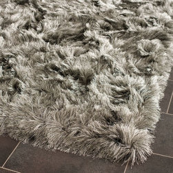 """Safavieh - Shag Shag Hallway Runner 2'3""""x8' Runner Silver Area Rug - The Shag area rug Collection offers an affordable assortment of Shag stylings. Shag features a blend of natural Silver color. Hand Tufted of Polyester the Shag Collection is an intriguing compliment to any decor."""