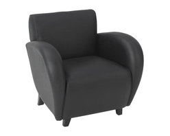 Office Star - Office Star Eleganza Eco Leather Club Chair in Black - Office Star - Club Chairs - SL2431EC3 - Eleganza - Black Eco Leather Club Chair with Mahogany Finish Legs. Rated for 300 Lbs. of distributed weight. Shipped assembled. Make your office a little bit more homey by completing it with the your own office star club chair. Able to match a lot of settings with it's simplicity.