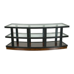Vanguard - Radiused Console - A contemporary classic, this console features two glass surfaces and a rich walnut frame for a balanced look. Three tiers offer ample space for showcasing your favorite photos and decorative displays, and a sumptuously curved profile makes it a bold addition to any space.