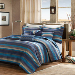 Madison Park - Madison Park Yosemite 6 Piece Quilted Coverlet Set - For an updated look, this Yosemite Coverlet Set can bring a brand new esthetic to any room. The coverlet is made from polyester microfiber for easy care and the mesh of navy, medium blue, and earth tones come together with thin striping to create a beautiful look. The two shams that come with this set have corresponding striping to match the coverlet perfectly. For added color and dimension, three decorative pillows are worked into this collection with zig zag patterns and stripes to add a pop to the top of bed. Coverlet & Sham: 100% polyester microfiber, 75gsm brushed printed fabric face, solid polyester brushed fabric reverse, 85% cotton 10% polyester 5% rayon fill, all over quilted with self fabric binding, prewash finish Square Pillow: 100% polyester microfiber