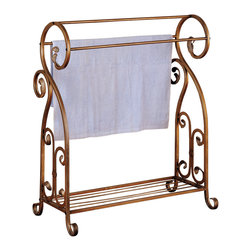 Coaster - Accent Antique Gold Towel Rack - Keep your towels off the floor and neatly organized with this stunning towel rack. It can also be used for quilts and blankets in a living area or bedroom.