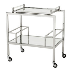 Eichholtz Oroa - Bar Cart Majestic - Polished stainless steel - clear glass