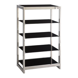 Out-Of-Sight Bookshelf - Very modern and very sleek, this set of shelves is perfect for storing books, knick-knacks, or displaying photos. The black tempered glass and stainless steel frame make it sturdy, and the mix of the two materials in this simple design is unique and stylish.
